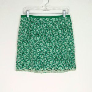 J Crew Green Embroidered Floral Skirt